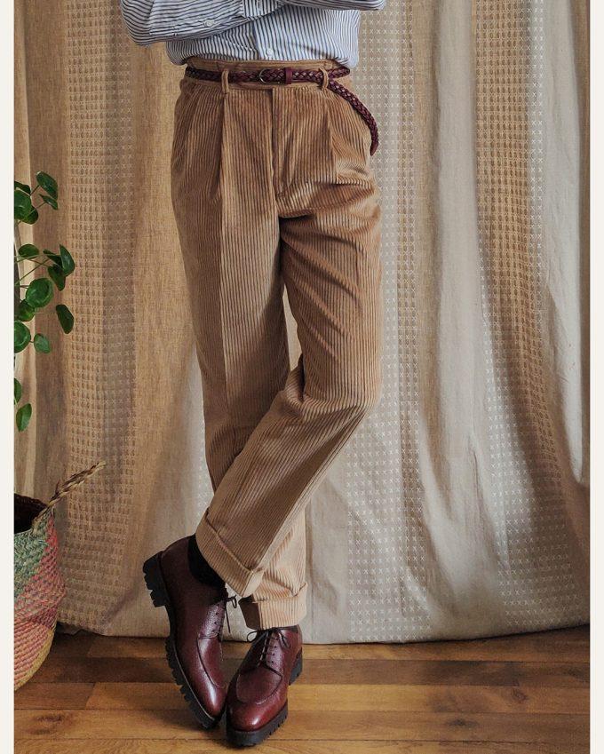 Pantalon beige athi editions en velours