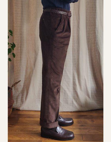 coupe confortable pantalon velours marron