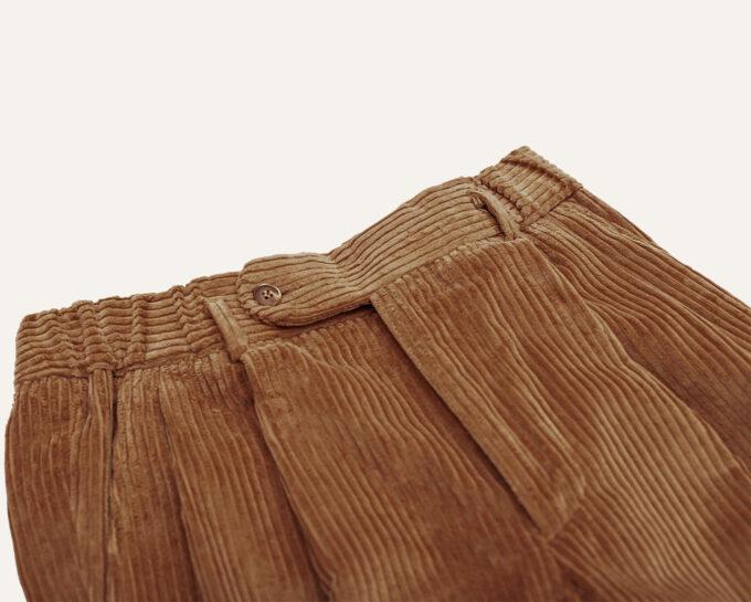 Ceinture double plis pantalon velours beige athi editions