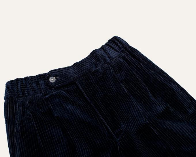 Ceinture élastique pantalon bleu en velours Athi Editions