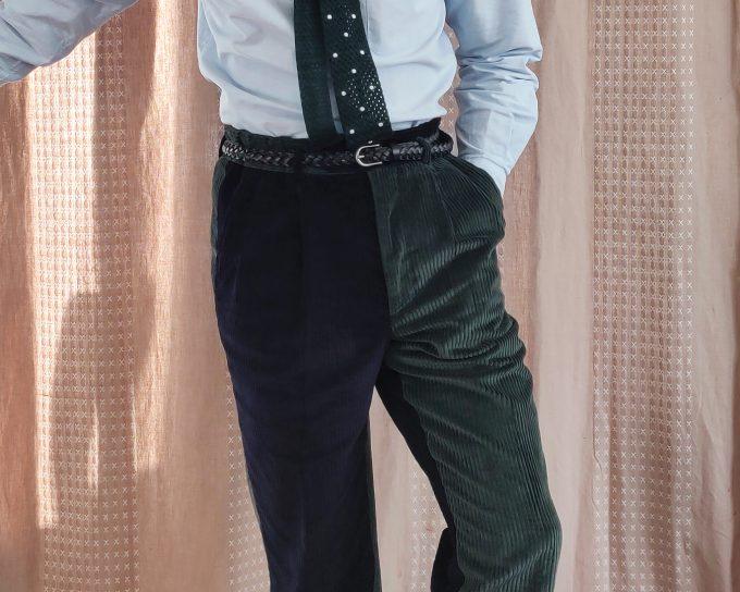 Détails fun pants vert et bleu