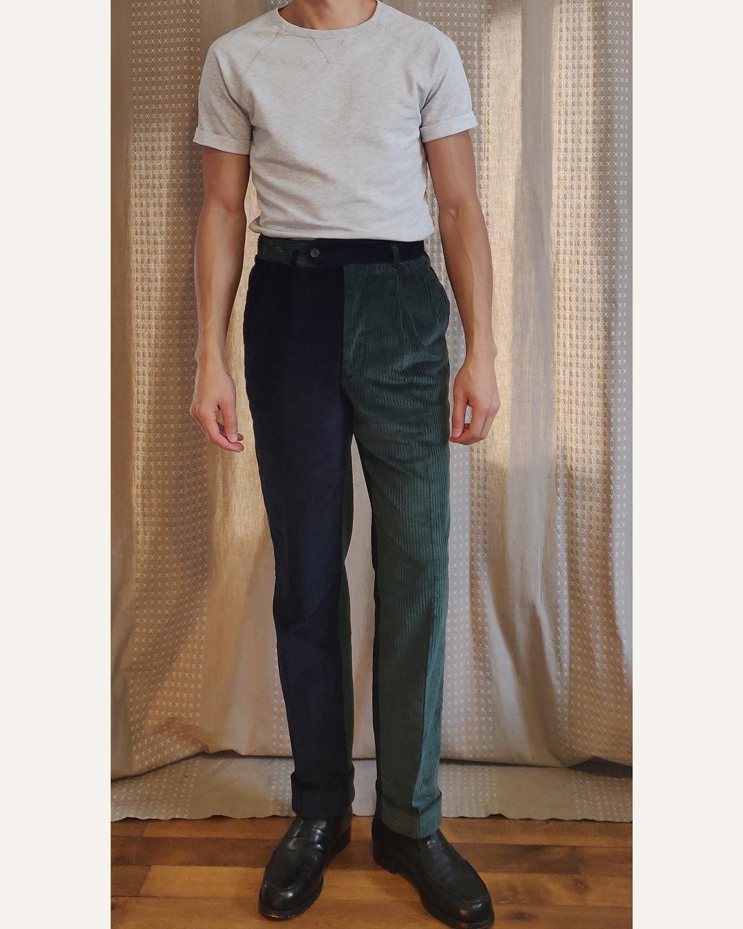Look pantalon vert et bleu en velours