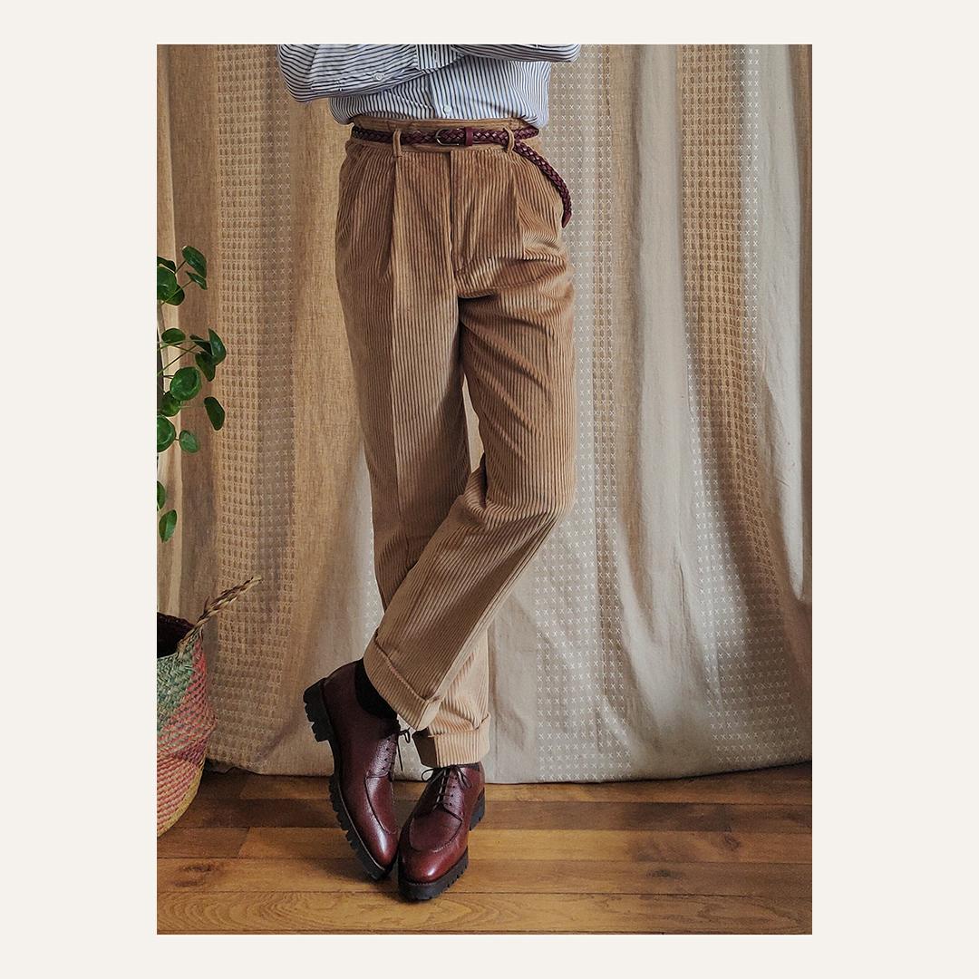 Pantalon à double plis beige en velours