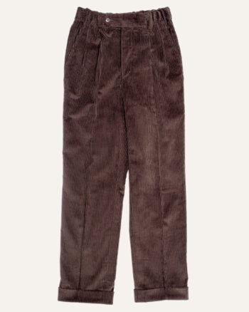 Pantalon double plis en velours marron