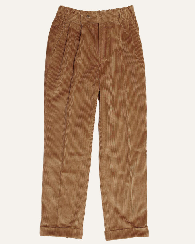 Pantalon double plis en velours beige